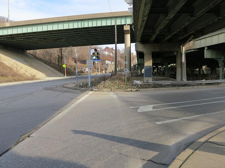 Misaligned Sidewalk at the Birmingham Bridge Entrance